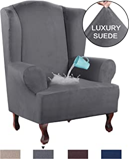 H.VERSAILTEX High Stretch Rich Velvet Plush Sofa Cover/Wing Chair Slipcover 1 Piece Wing Back Arm Chair Furniture Cover Slipcover, Machine Washable Suede Fabric Stay in Place, Grey