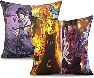 "Naruto Pillowcase 2 Pack Itachi Black Shippuuden Anime Covers Cartoon for Sofa Living Room Bedroom Dorm Decor(18""x18"")"