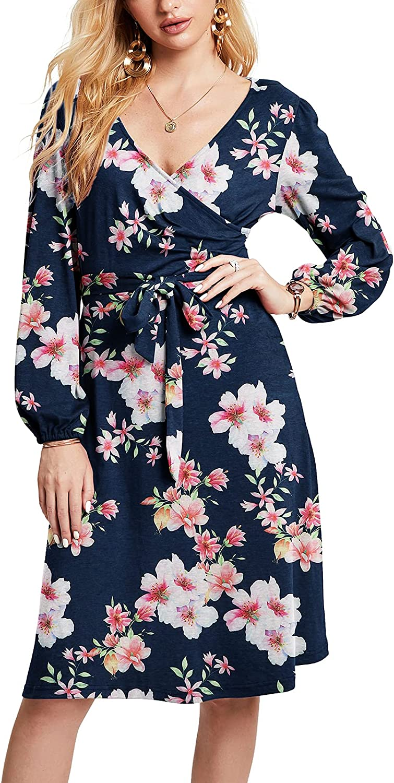 HUSKARY Women V Neck Wrap Long Puff Sleeve Swing Casual Midi Dress with Belt and Pocket