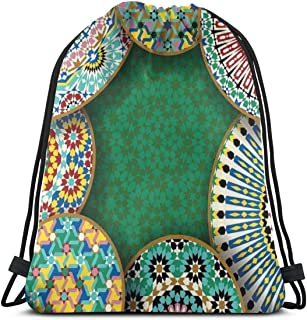 Drawstring Backpack Bags Sport Gym Cinch Bag Travel for Women Men Children,Oriental Motif With Mix Of Hippie Retro Circle Morocco Mosaic Lines Sacred Design Print
