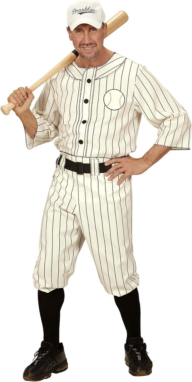 WIDMANN 49492 - Erwachsenenkostüm Baseball Spieler, Shirt, Hose mit Gürtel und Kappe, weiß, Größe M B019MP4DZQ Online-Exportgeschäft  | Vielfalt