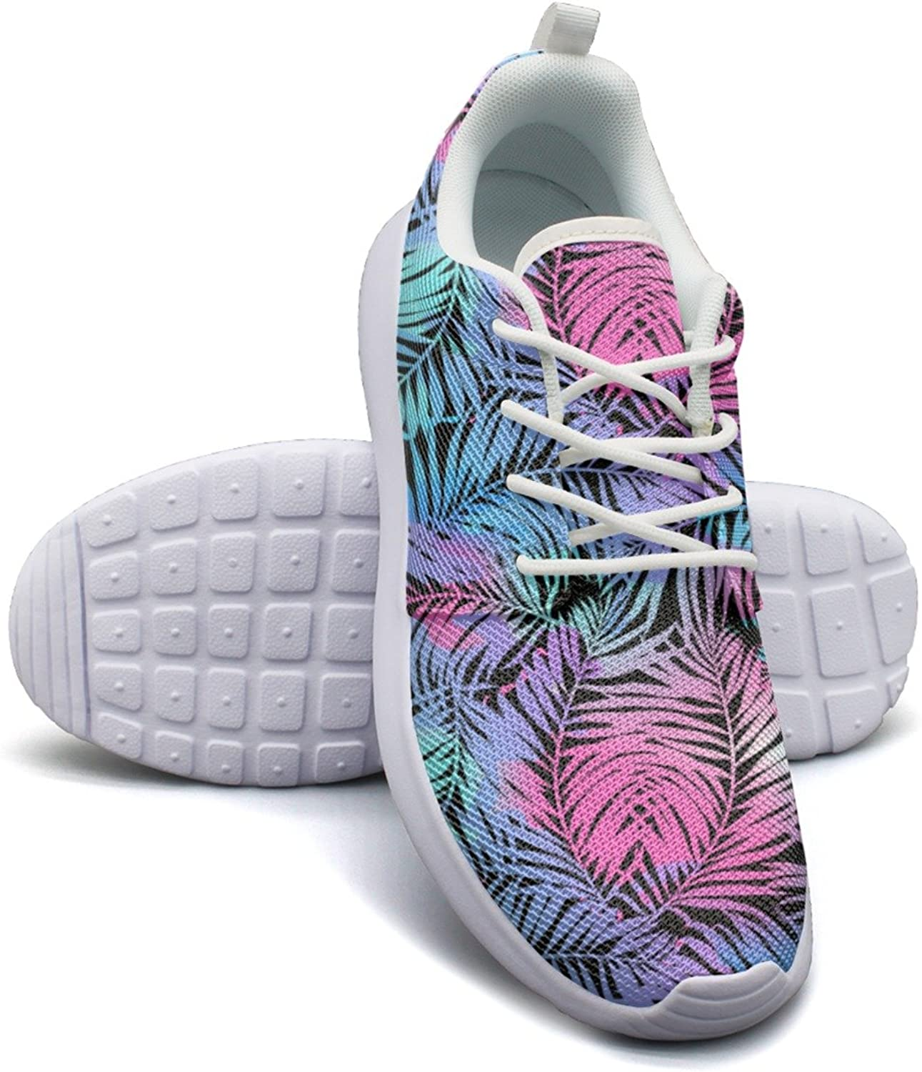 Tropical Palms Colours Pink Purple Women's Lightweight Mesh Running Sneakers Classic Boat shoes