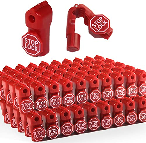 Betertek Peg Hook Locks Stop Lock 100pcs Plastic red Stop Locks Anti Theft Lock Retail peg Hook Security Locks pegboa...