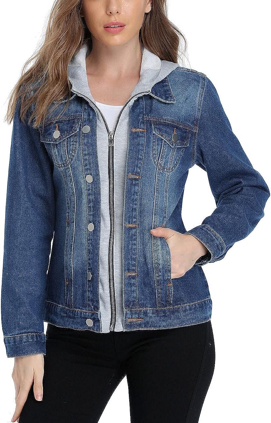 Anienaya Women's Hooded Jean Jacket Classic Washed Long Sleeve Cotton Zipper Denim Jacket w 2 Pockets