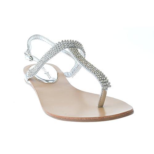 f9da4abdb9f Nature Breeze Kylie 08 Gladiator Rhinestone Thong Flat Sandals Silver