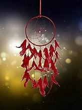ILU® Dream Catcher Wall Hanging Handmade Beaded Circular Net Decoration Ornament Size 16 cm Diameter Red