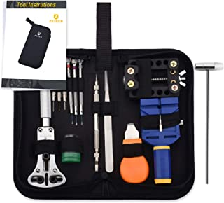 Zeiger Professional Watch Repair Tool Kit, Watch Band Spring Bar Link Pin Adjustment Watch Back Case Removal Opener Watch Batteries Changing Replacement Resizing Tool
