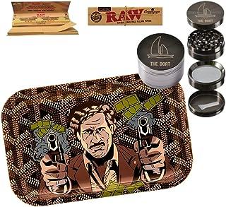 THE BOAT Kit para Fumar - Bandeja para Liar Pablo Escobar 27,5cm x 17,5cm + Raw Papel de Liar Kings Size (2 Unidades) + Grinder metálico 4 Partes con rascador - para su Uso en Tabaco.