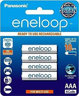 Panasonic Eneloop Rechargeable Batteries, AAA, 4 Count