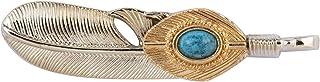 A N KINGPiiN Broche dorado con pluma plateada y piedra azul