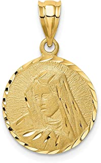 Lex & Lu 14k Yellow Gold Brushed and D/C Virgin Mary Pendant