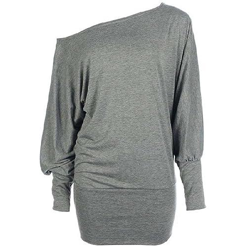 837e0661d3e45 Hot Hanger Womens Long Sleeve Off Shoulder Batwing Tunic Top PLUS Sizes