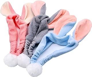 JETEHO 3 Pack Cute Bunny Ears Makeup Headbands Fluffy Animal Face Washing Cosmetic Shower Spa Headband