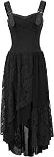Women Steampunk Gothic Victorian Long Dress Sleeveless Irregular Lace Dresses