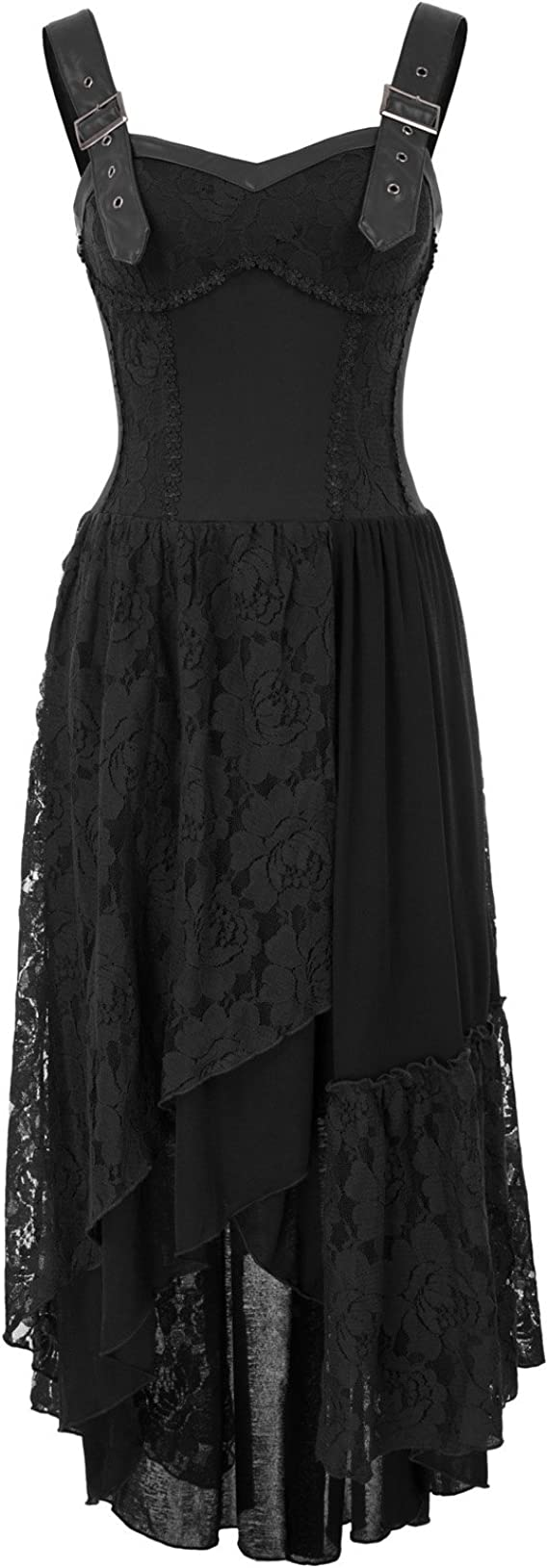 Steampunk Clothing, Fashion, Costumes Women Steampunk Gothic Victorian Long Dress Sleeveless Irregular Lace Dresses  AT vintagedancer.com