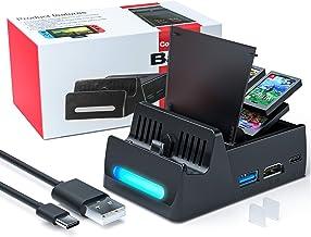 WATSABRO Dock Switch pour Nintendo Switch,Socle Switch Support Switch Nintendo avec Interface USB 2.0 3.0 et 4 Magasins Ga...