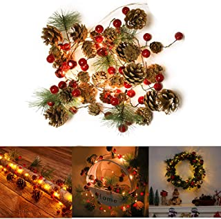 Antrixus Christmas Garland Lights Pinecone Light Battery Operated Red Berry Pine Cone Fall Decor Garland Lights for Indoor Outdoor Thanksgiving Decorations Christmas Party