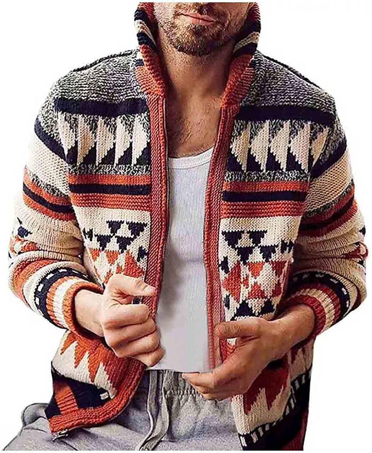 Huangse Men's Vintage Full Zip Cardigan Sweater Slim Fit Open Front Cable Knitted Jacket Turn Down Collar Sweater Jacket