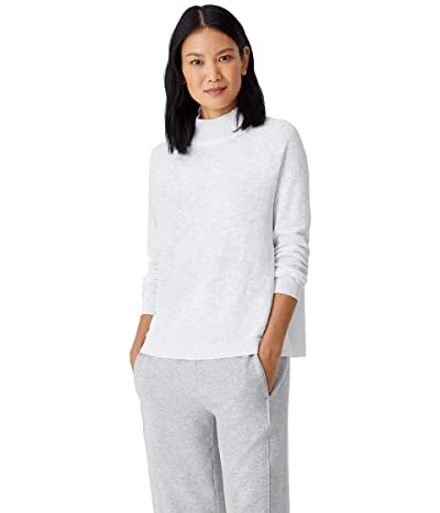 Eileen Fisher Organic Cotton Linen Slub Funnel Neck Top (White) Women