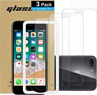 (3 Pack ) Amuoc Tempered Glass Film for Apple iPhone 8 Screen Protector iPhone 7 Screen Protector with (Easy Installation Tray) Anti Scratch, Bubble Free