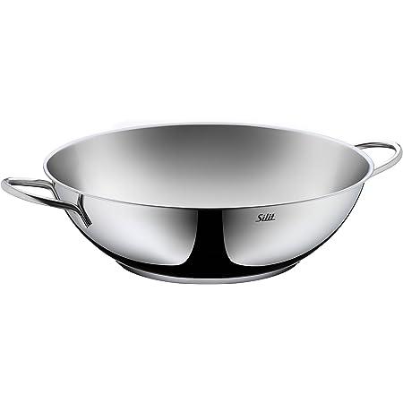 Silit 2137300472 Wok 32cm, Acier Inoxydable, Silver, 32 cm