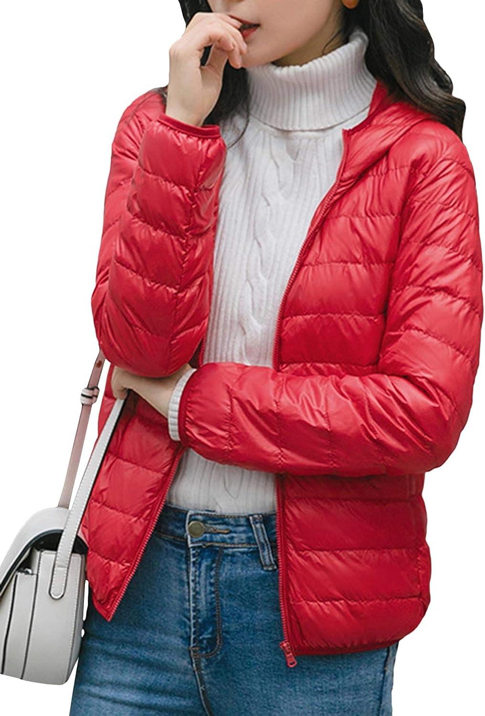 SEMATOMALA Women's Hooded Lightweight Down Jacket Packable Puffer Coat Winter Zip Up Quilted Short Down Outwear