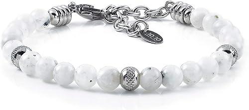 10:10 Bracciale con Pietre di Luna Naturali da 6 mm, Beads in Acciaio Inox, Bracciale  Molto Resistente Prodotto in Italia : Amazon.it: Moda