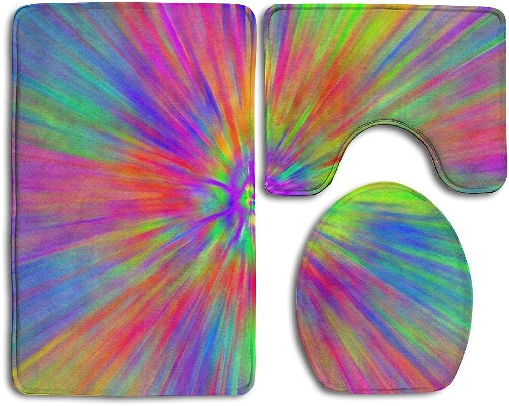 Huadduo Bath Mat Set Tye Dye Patterns 3 Piece Bathroom Mats Set Non Slip Bathroom Rugs Contour Mat Toilet Cover