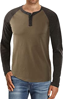 Men's Raglan Henley Long Sleeve Shirt Casual Slim fit Fashion Shirt Lightweight Performance Undershirt