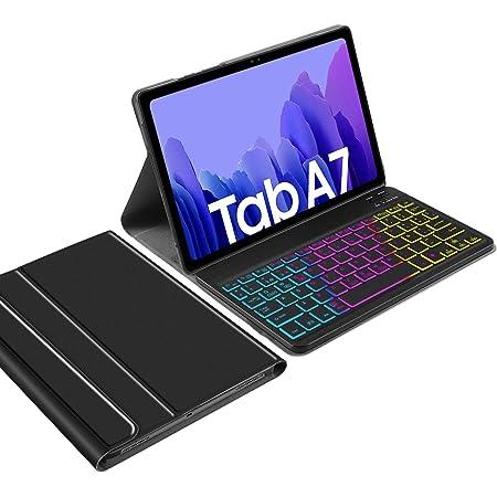 IVSO Backlit Español Ñ Teclado Compatible con Samsung Galaxy Tab A7, para Samsung Galaxy Tab A7 T505/T500/T507 10.4 2020 Teclado, Funda con 7 Colores ...