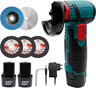 Angle Grinder, Mini Angle Grinder 12V 19500RPM Brushless Cordless Angle Grinder, Portable Cut Machine with 3 Cutting Disc,...