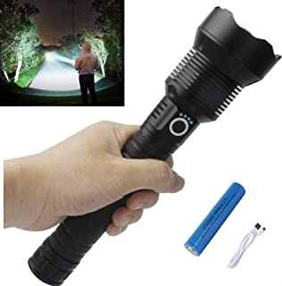 Rechargeable Led Flashlight High Lumens, 90000 Lumens Super Bright Flashlights, Powerful Tactical Flashlight with Batterie...