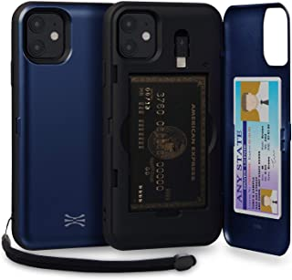 TORU CX PRO iPhone 11 Wallet Case Blue with Hidden Credit Card Holder ID Slot Hard Cover, Strap, Mirror & Lightning Adapter for Apple iPhone 11 (2019) - Navy Blue