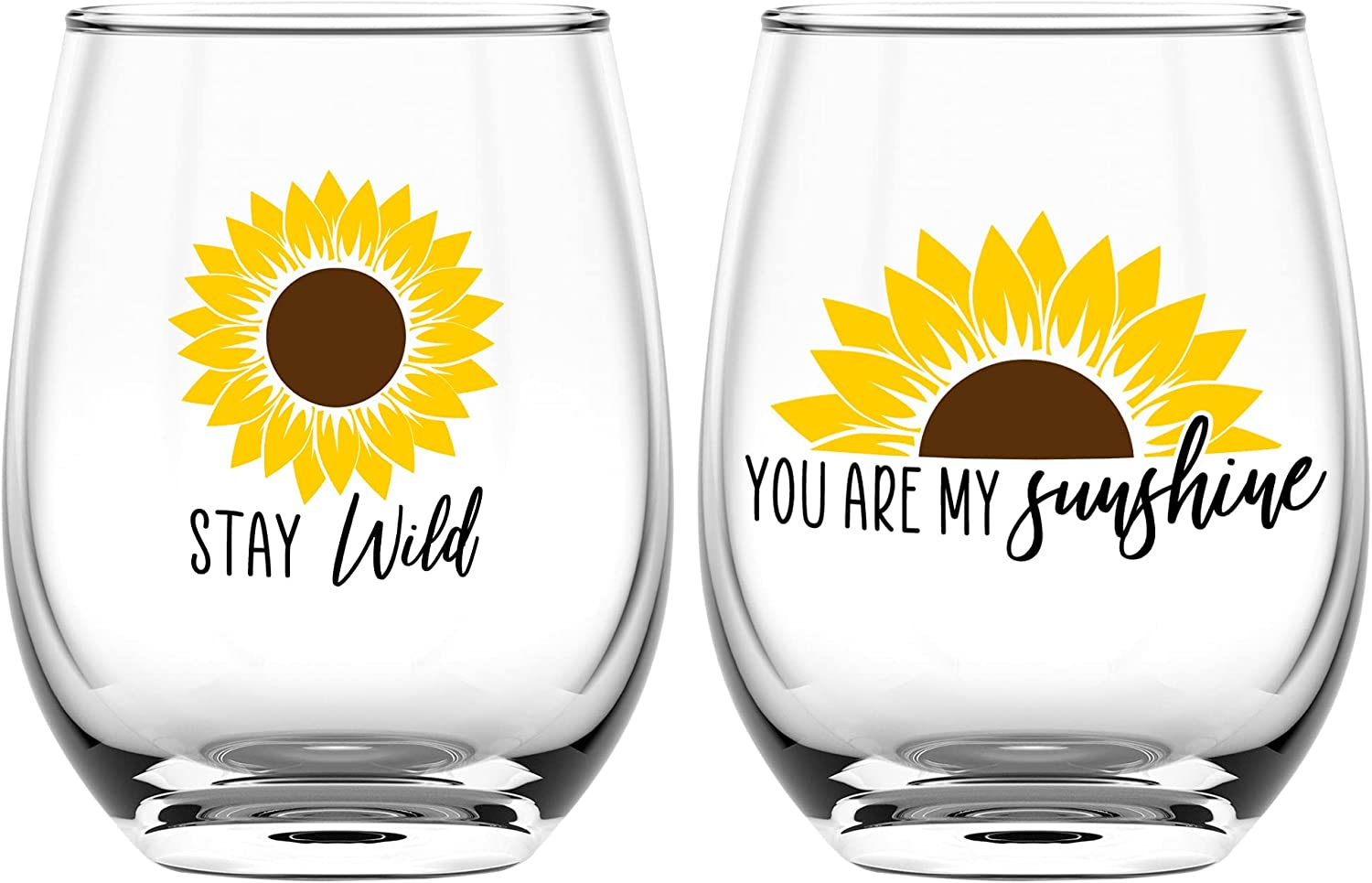 Sunflower Wine Glasses Set of 2 - You Are My Sunshine - Sunflowers Gifts for Women and Kitchen Decor Accessories - Wine Tumbler Cup Glass Set - Sunflower Gift for House - 17 Oz by On the Rox Drinks