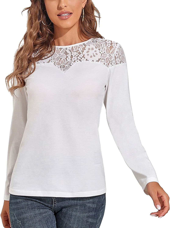 Dokuritu Women's Patchwork Lace Tops-Long Sleeve Blouse Loose Casual Crewneck Shirts