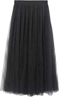 Donna Gonna Lunga di Tulle Elastico in Vita Stile Elegante Casual Tulle a 3 Strati Solida Colore Linea ad A