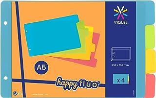 Viquel - Intercalaires pour classeur à fiches bristol 12,5x20cm en plastique - Intercalaires Coloris fluo
