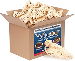 ValueBull Cow Ears with Bully Dust Dog Treats, 50 Count