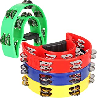 """4 Pack 9 """"Double Row Tambourine Metal Jingles Hand Held Druc Percussion Drum، Half Moon Musical Tambourine، Plastic Musical Percussion Tambourines Music Rhythm for KTV، Party، Multicolor"""