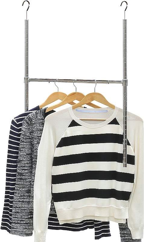 Simple Houseware Adjustable Closet Hanging Rod Chrome