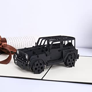 Liif Trendy Jeep Pop Up Card, 3D Greeting Pop Up Card for All Occasions, Birthday, Father's Day, Graduation, Congratulations, Get Well, New Business, Retirement, Just Because, Perfect Jeep Gift