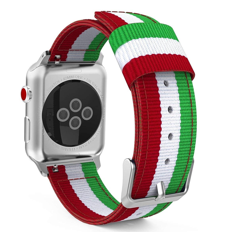 絡まる抽出ゴールデンApple Watch Series 4 3 2 1 時計バンド ベルト 腕時計バンド ベルト 交換ベルト の腕時計のバンド (トリコロールグリーン)42mm