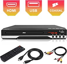 Compact DVD Player for TV - Multi Region HDMI 1080P Digital DVD Player with Remote Control, USB Port, AV Cable for TV Connection