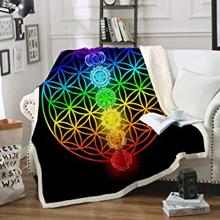 Sleepwish Sherpa Fleece Blanket Colorful Neon Seven Chakras Fuzzy Reversible Blanket Flower of Life Plush Travel Blanket for Bed Sofa and Couch and Office Throw(50