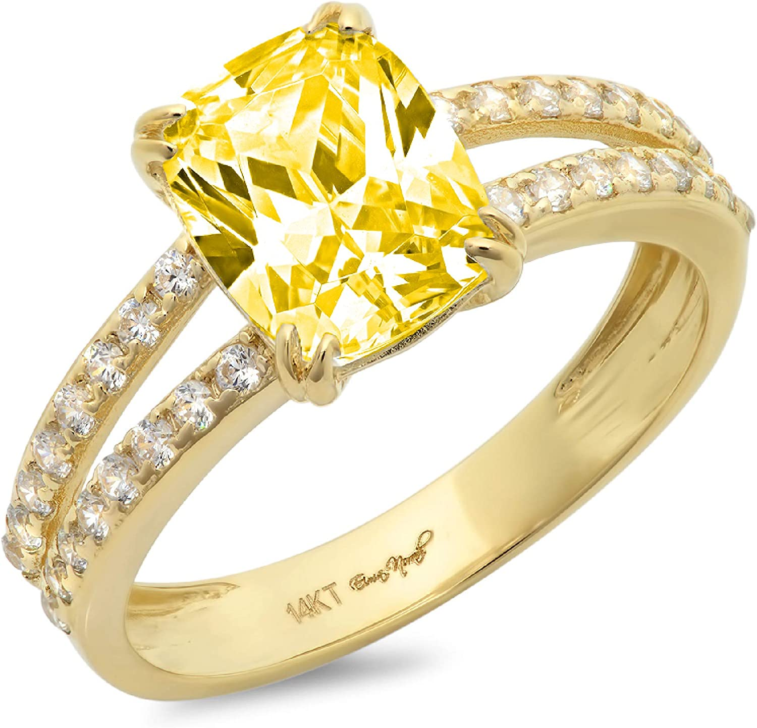 3.50 ct Brilliant Cushion Cut Solitaire with accent Canary Yellow Simulated Diamond Ideal VVS1 Engagement Promise Statement Anniversary Bridal Wedding Ring 14k Yellow Gold