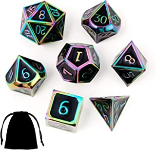 Dungeons and Dragons Metal Dice Set DND 7Pieces Solid Dice with Gift Dice Bag for D&D Pathfinder Roll Playing Games Dice Collector Board Game Player