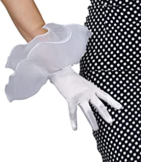 DooWay Women Touchscreen Black Fashion Satin Silk Sexy Gloves Wrist Short Stretchy Tulle Organza Ruffle Puff Sleeve