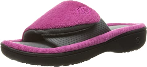 Women's Terry Adjustable Slide Slippers with Moisture Wicking and Memory Foam for Indoor/Outdoor Comfort