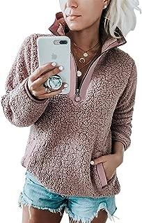 Womens Fleece Sherpa Fuzzy Zipper Long Sleeve Loose Pullover Fashion Contrast Color-Block Pockets Sweatshirt Outwear