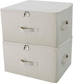 Contenants de rangement pliables en toile Jumbo, Rangez votre placard, Boîte de rangement pratique avec couvercle, Beige, ...